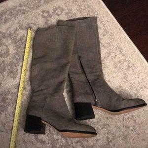 Sam Edelman Grey Suede Heeled Boots